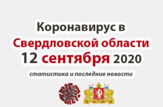 Коронавирус в Свердловской области на 12 сентября 2020 года