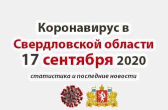 Коронавирус в Свердловской области на 17 сентября 2020 года