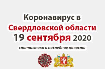Коронавирус в Свердловской области на 19 сентября 2020 года