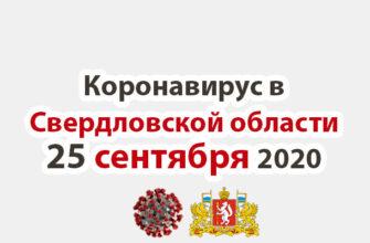 Коронавирус в Свердловской области на 25 сентября 2020 года