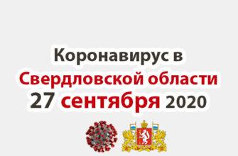 Коронавирус в Свердловской области на 27 сентября 2020 года