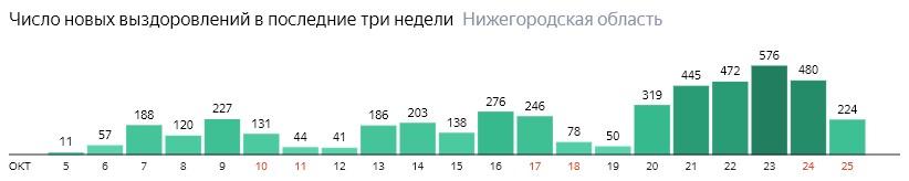 Число новых выздоровлений от коронавируса по дням в Нижегородской области на 25 октября 2020 года
