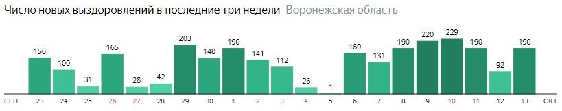 Число новых выздоровлений от коронавируса по дням в Воронежской области на 13 октября 2020 года