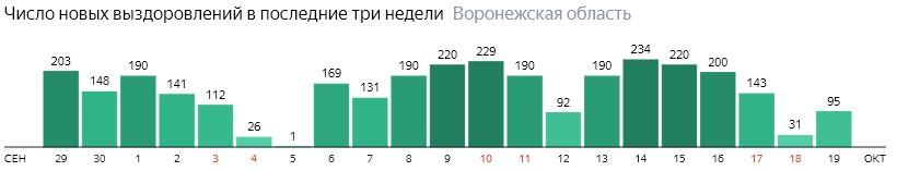 Число новых выздоровлений от коронавируса по дням в Воронежской области на 19 октября 2020 года