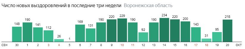 Число новых выздоровлений от коронавируса по дням в Воронежской области на 20 октября 2020 года