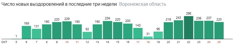 Число новых выздоровлений от коронавируса по дням в Воронежской области на 25 октября 2020 года