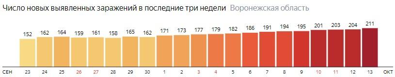 Число новых зараженных КОВИД-19 по дням в Воронежской области на 13 октября 2020 года