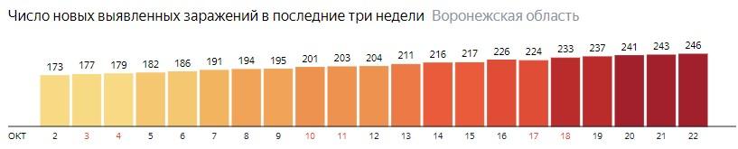 Число новых зараженных КОВИД-19 по дням в Воронежской области на 22 октября 2020 года