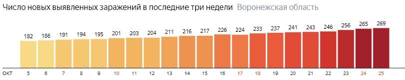 Число новых зараженных КОВИД-19 по дням в Воронежской области на 25 октября 2020 года