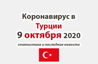 Коронавирус в Турции на 9 октября 2020 года