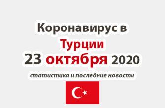 Коронавирус в Турции на 23 октября 2020 года