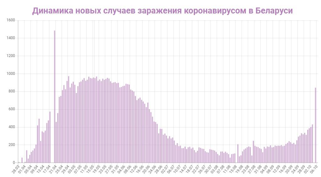 Динамика новых случаев заражений в Беларуси на 6 октября 2020: сколько заражений COVID-19 за последние сутки