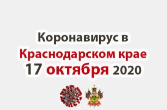 Коронавирус в Краснодарском крае на 17 октября 2020 года