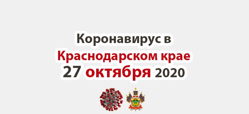 Коронавирус в Краснодарском крае на 27 октября 2020 года