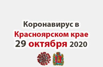 Коронавирус в Красноярском крае на 29 октября 2020 года