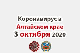 Коронавирус в Алтайском крае на 3 октября 2020 года