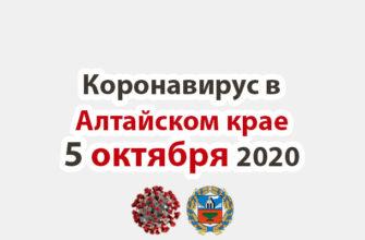 Коронавирус в Алтайском крае на 5 октября 2020 года