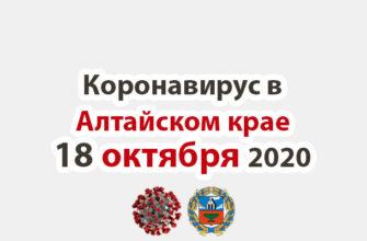 Коронавирус в Алтайском крае на 18 октября 2020 года