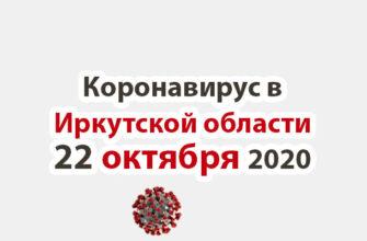 Коронавирус в Иркутской области на 22 октября 2020 года