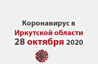 Коронавирус в Иркутской области на 28 октября 2020 года