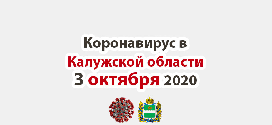 Коронавирус в Калужской области на 3 октября 2020 года