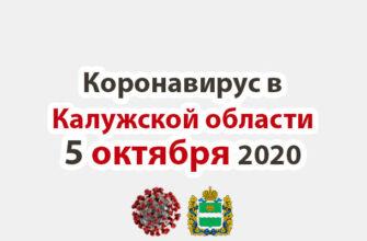 Коронавирус в Калужской области на 5 октября 2020 года
