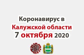 Коронавирус в Калужской области на 7 октября 2020 года