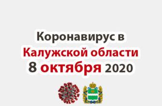 Коронавирус в Калужской области на 8 октября 2020 года