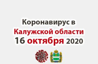 Коронавирус в Калужской области на 16 октября 2020 года