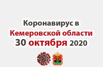 Коронавирус в Кемеровская области 30 октября 2020