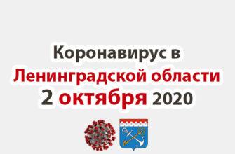 Коронавирус в Ленинградской области 2 октября 2020