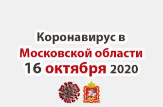 Коронавирус в Московской области на 16 октября 2020 года