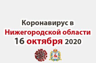 Коронавирус в Нижегородской области на 16 октября 2020 года