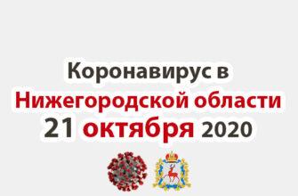 Коронавирус в Нижегородской области на 21 октября 2020 года