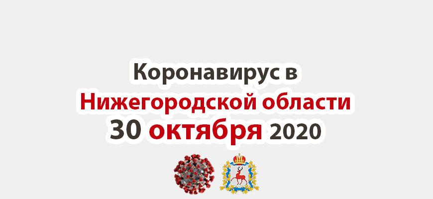 Коронавирус в Нижегородской области на 30 октября 2020 года