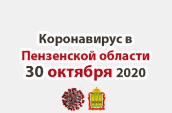 Коронавирус в Пензенской области 30 октября 2020