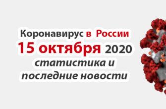 Коронавирус в России на 15 октября 2020 года