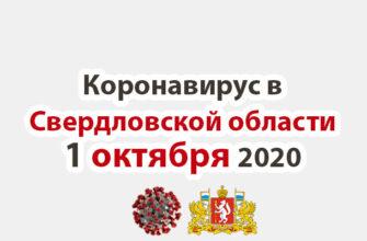 Коронавирус в Свердловской области на 1 октября 2020 года