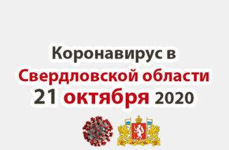 Коронавирус в Свердловской области на 21 октября 2020 года