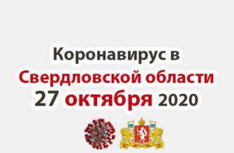 Коронавирус в Свердловской области на 27 октября 2020 года