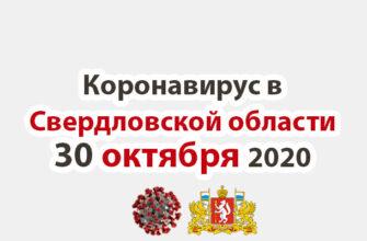 Коронавирус в Свердловской области на 30 октября 2020 года