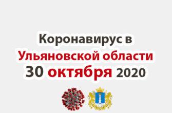 Коронавирус в Ульяновской области 30 октября 2020