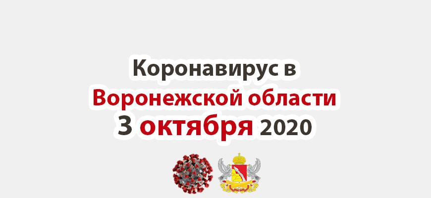 Коронавирус в Воронежской области на 3 октября 2020 года