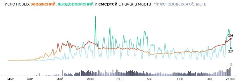 Ситуация с КОВИДом в Нижегородской области по дням статистика в динамике на 25 октября 2020 года