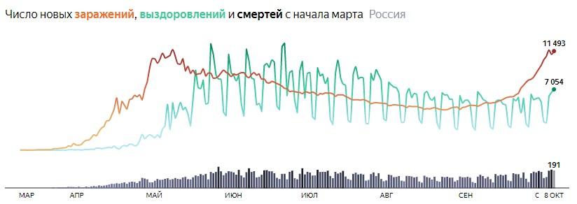 Ситуация с COVID-19 в России по дням статистика в динамике на 8 октября 2020 года
