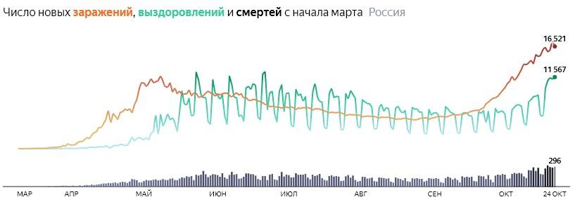 Ситуация с COVID-19 в России по дням статистика в динамике на 24 октября 2020 года