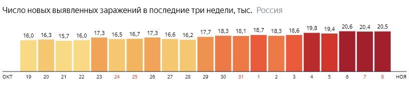 Число новых зараженных коронавирусом  по дням в России на 8 ноября 2020 года