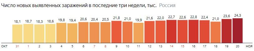 Число новых зараженных коронавирусом  по дням в России на 20 ноября 2020 года