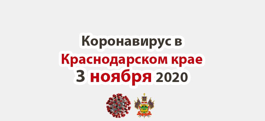 Коронавирус в Краснодарском крае на 3 ноября 2020 года