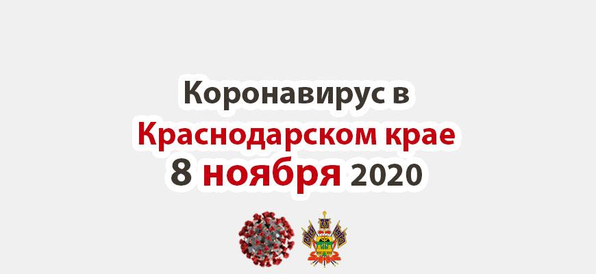 Коронавирус в Краснодарском крае на 8 ноября 2020 года